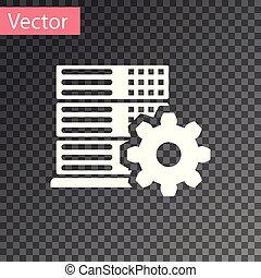 White Server setting icon isolated on transparent background. Vector Illustration
