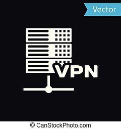 White Server VPN icon isolated on black background. Vector Illustration