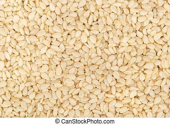 White sesame seeds - Background of scattered sesame seeds ...