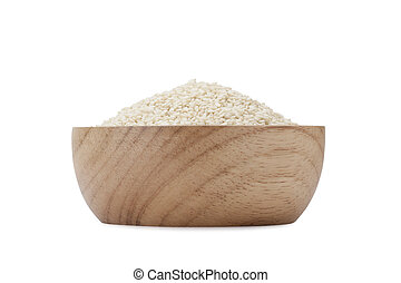 white sesame seeds isolated on white background with ...