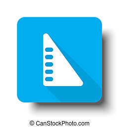 White Set Square icon on blue web button