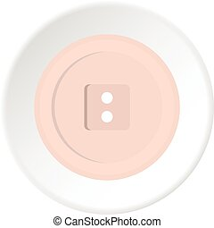 White sewing button icon circle