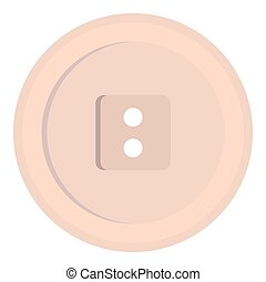 White sewing button icon isolated