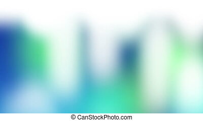 White shapes falling against a colourful background