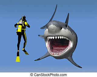 Computer generated 3D illustration with a Great White Shark and a Diver