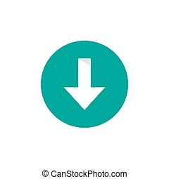 White sharp arrow down in blue circle icon. download sign.