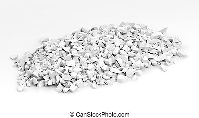 White shattered pieces of stone pile, isolated on white background.