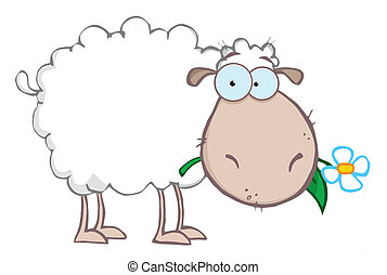 White Sheep Eating A Flower - White Sheep Cartoon Character...