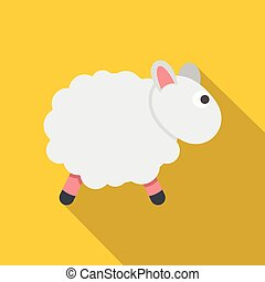 White sheep icon, flat style