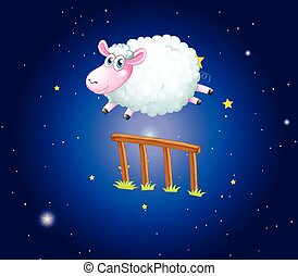 White sheep jumping over fence at night