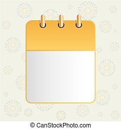 White sheet of calendar