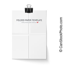 White sheet of paper folded in four hangs with clip isolated