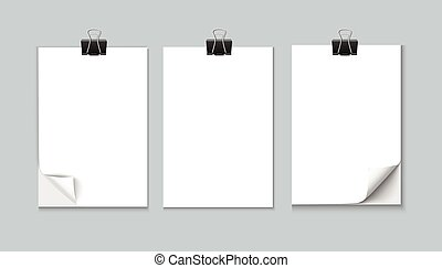 White sheet of paper isolated on gray background