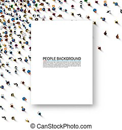 White sheet of paper on a background with people