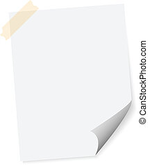 White sheet of paper on white background