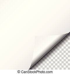 White sheet of paper with bent corner, isolated on transparent background
