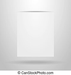 White sheet of paper with the shadow on a grey background