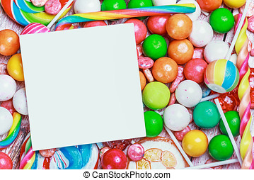 White sheet on candy and sweets