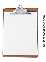 paper clip board - white sheet on paper clip board, isolated