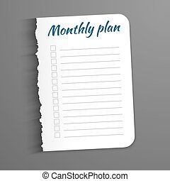 White sheet with inscription Monthly Plan. Leaf  a ragged edge to record the completed tasks. Vector illustration isolated on  dark background. Marked task list.