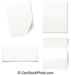 White sheets of paper - vector set.