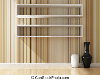 white shelf and wallpaper decorated of interior, 3d rendering
