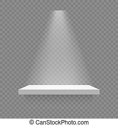 white shelf isolated with spotlight