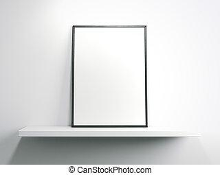 White shelf with blank frame. 3d rendering