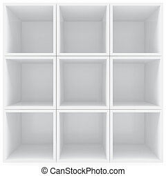 White shelves - 3D rendering of white shelves stacked