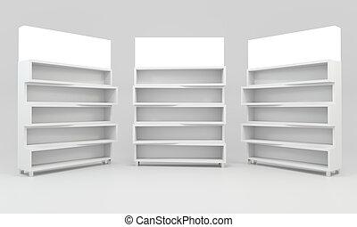 White shelves design on white background