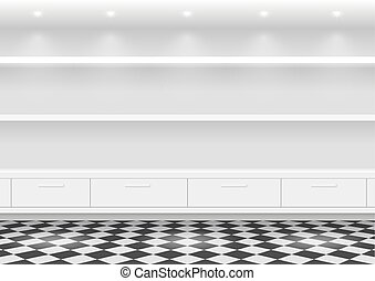 White shelves for products