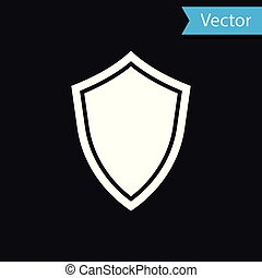 White Shield icon isolated on black background. Guard sign. Vector Illustration