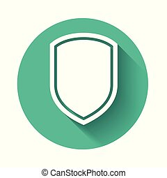 White Shield icon isolated with long shadow. Guard sign. Green circle button. Vector Illustration