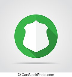 White shield in flat design with long shadow. Simple shield icon on a green circle. Vector illustration.
