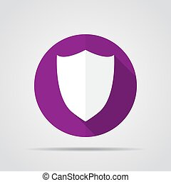White shield in flat design with long shadow. Simple shield icon on a purple circle. Vector illustration.