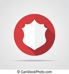 White shield in flat design with long shadow. Simple shield icon on a red circle. Vector illustration.