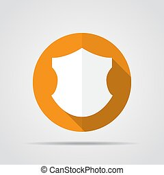 White shield in flat design with long shadow. Simple shield icon on an orange circle. Vector illustration.