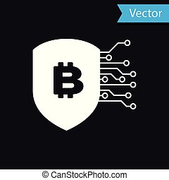 White Shield with bitcoin icon isolated on black background. Cryptocurrency mining, blockchain technology, bitcoin, security, protect, digital money. Vector Illustration