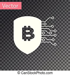 White Shield with bitcoin icon isolated on transparent background. Cryptocurrency mining, blockchain technology, bitcoin, security, protect, digital money. Vector Illustration