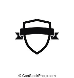 White shield with black ribbon icon, simple style