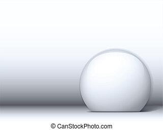 White Shiny Circle on White Background - Vector - White...