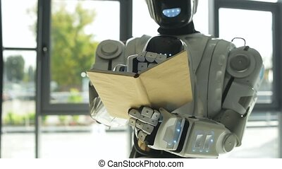 White shiny robot writing down information - Generating...