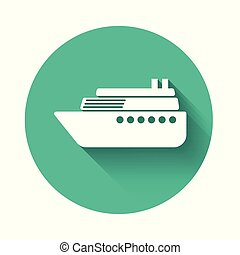 White Ship icon isolated with long shadow. Green circle button. Vector Illustration