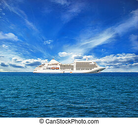 white ship on the horizon, magnificent view