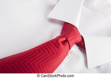 white shirt and red tie isolated on white