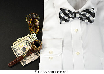 white shirt with bow tie and pipe