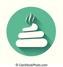 White Shit icon isolated with long shadow. Green circle button. Vector Illustration