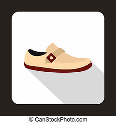White shoe with red sole icon, flat style