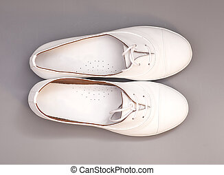 White Shoes isolated on gray background