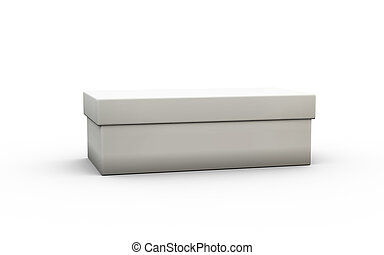 white shoes size box with cover by 3D rendering